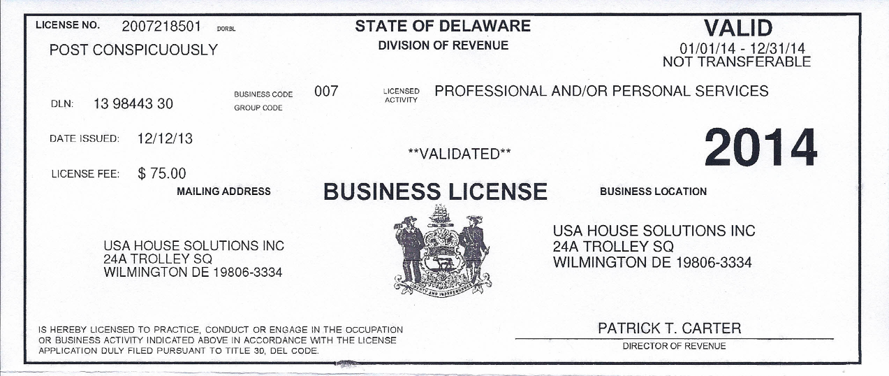 usa house solutions 2014 business license - usa house solutions, inc.