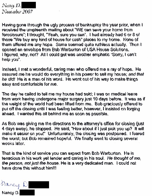 Nancy Testimonial for USA House Solutions