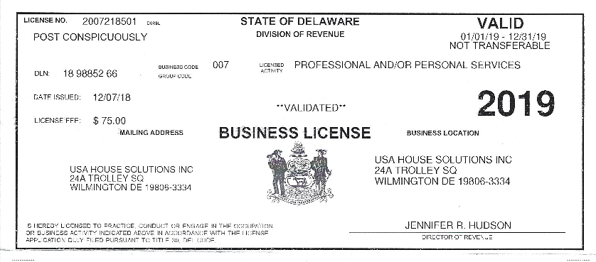 2019 USA House Solutions Business License