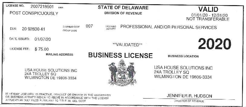 Business License for USA House Solutions 2020