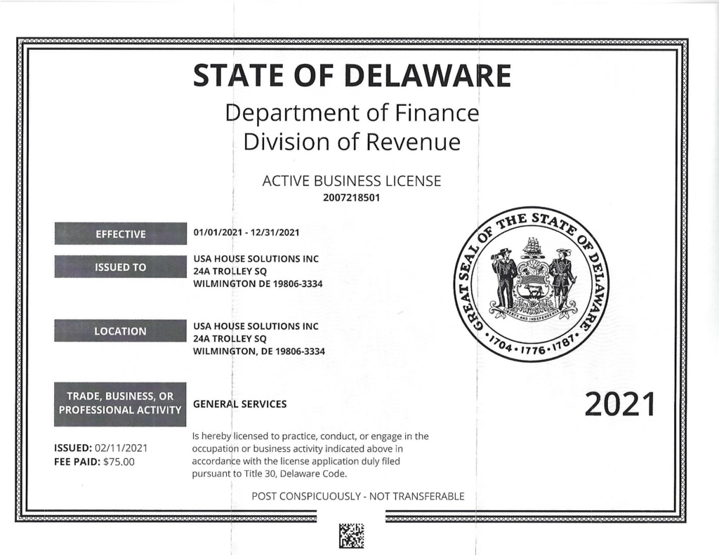 2021 business license for usa house solutions
